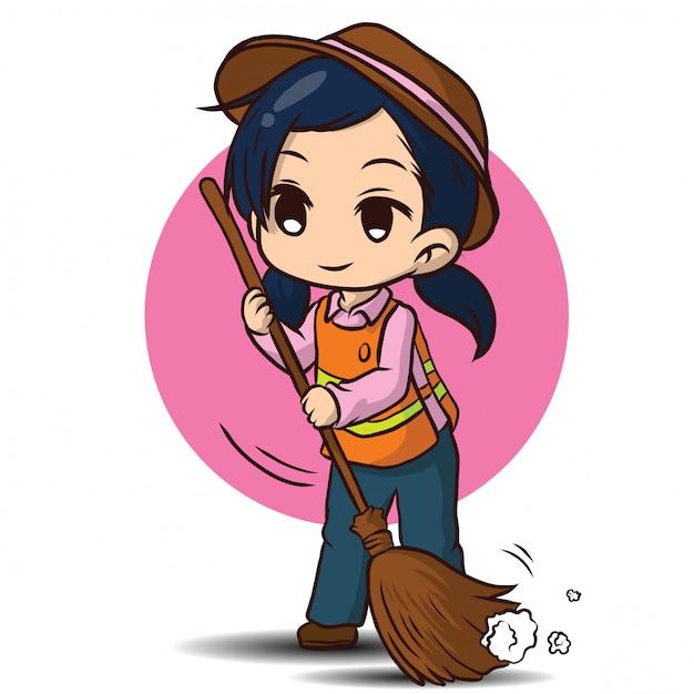 Cute street sweeper cartoon. job concept. Premium Vector