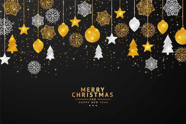 Cute string lights christmas  background with glitter effect Free Vector
