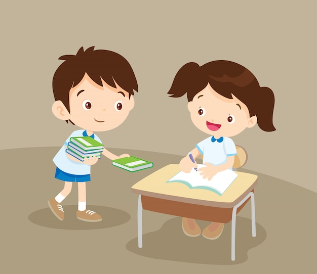 Cute student boy giving a book to friend Premium Vector