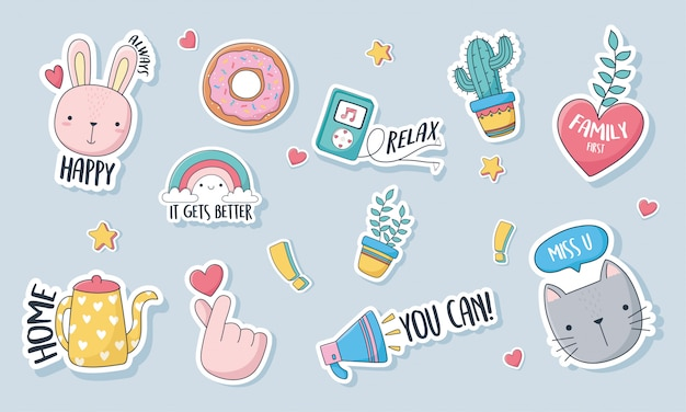 Cute stuff for cards stickers or patches decoration cartoon set icons Premium Vector