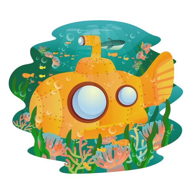 Cute submarine Premium Vector