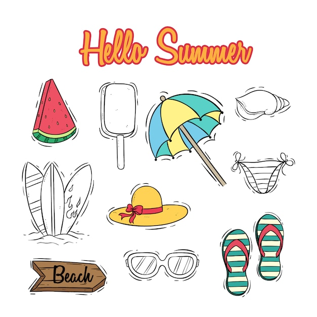 Cute summer icons collection with text and colored doodle style Premium Vector