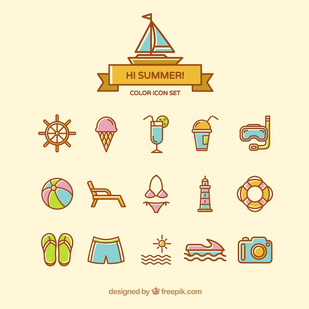 free vector cute summer icons free vector cute summer icons