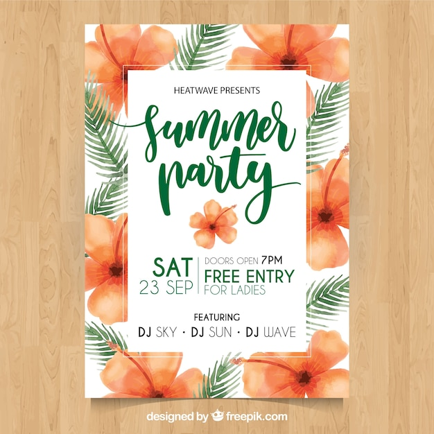 Cute summer party poster with flowers and\ watercolor palm leaves