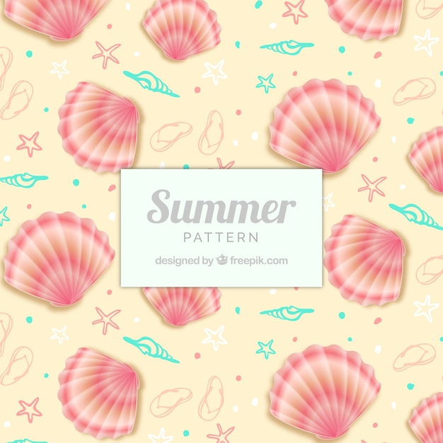 Cute summer pattern with shells Free Vector