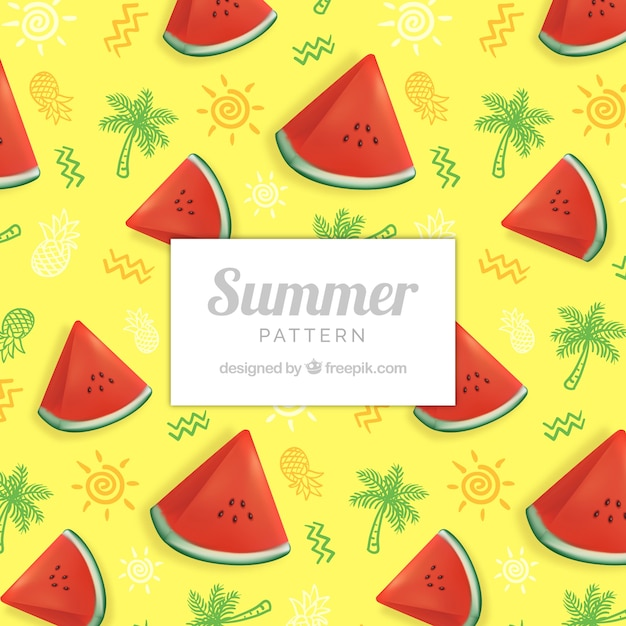 Cute summer pattern with watermelon Free Vector