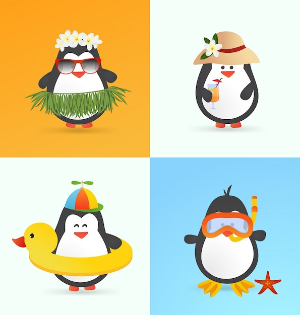 Cute summer penguin characters Free Vector