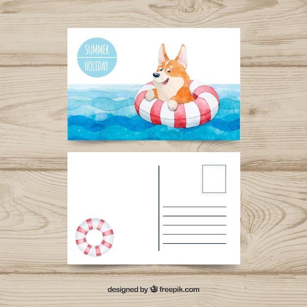 Cute summer postcard in watercolor style with dog Free Vector