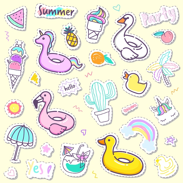 Cute summer sticker collection in pastel color Premium Vector