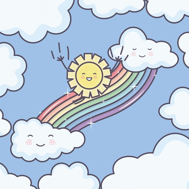Cute summer sun and clouds rainy with rainbow kawaii characters Free Vector