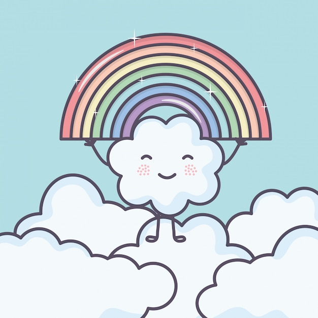 Cute summer sun and clouds with rainbow kawaii characters Free Vector