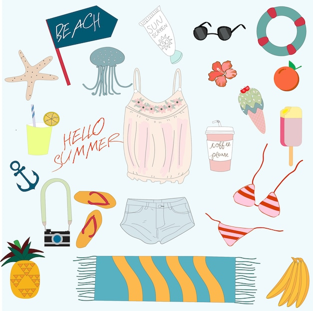 Cute summer sunny day beach items cartoon Premium Vector