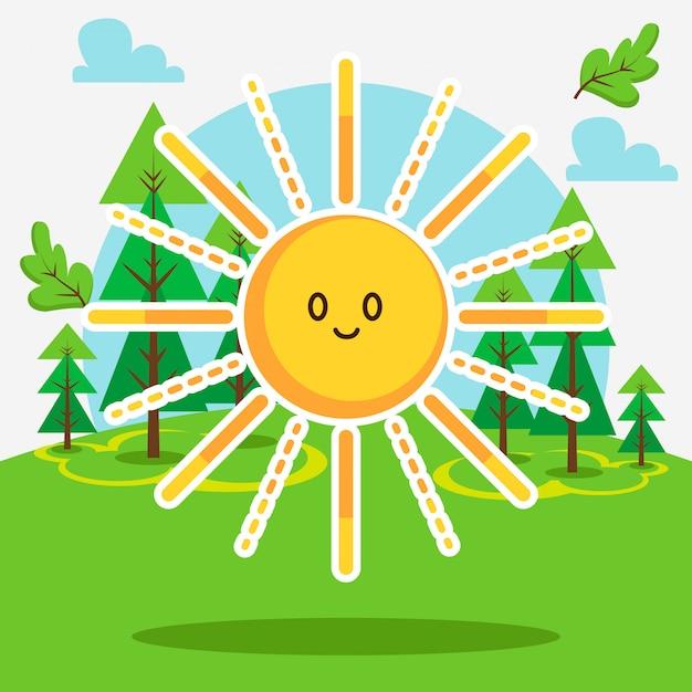 Cute sun in the forest Premium Vector