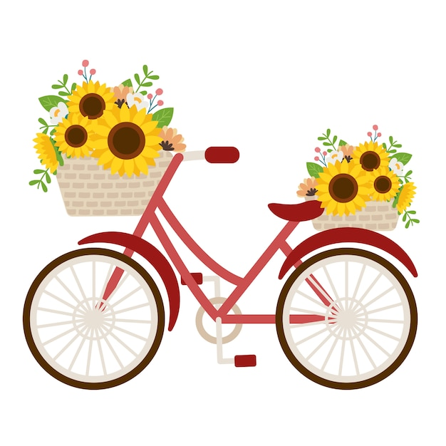 The cute sunflower in the basket on the red bicycle Premium Vector