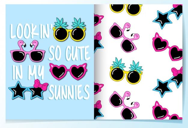 Cute sunglasses seamless pattern Premium Vector