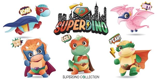 Cute super dinosaur with watercolor illustration Premium Vector