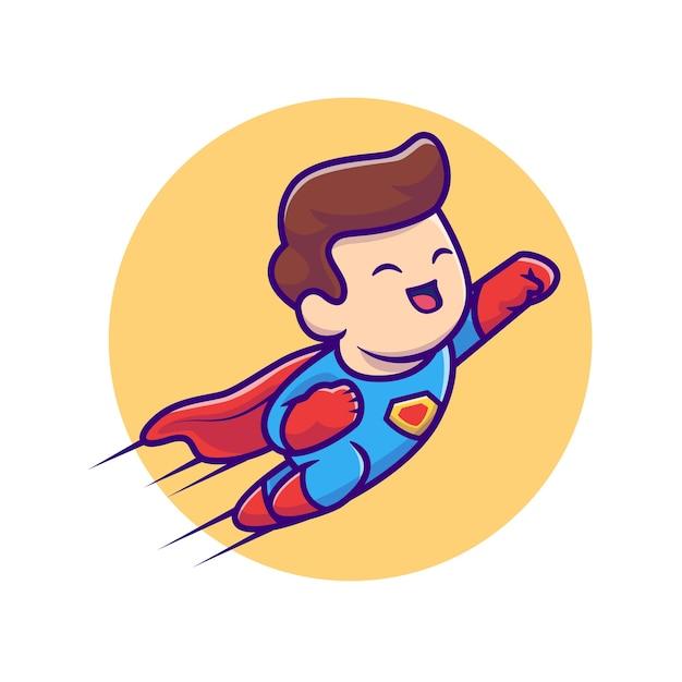 Cute super hero flying cartoon illustration. people profession icon concept