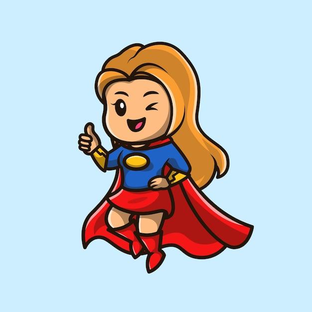 Illustrazione sveglia dell'icona del fumetto della ragazza dell'eroe eccellente. Vettore gratuito