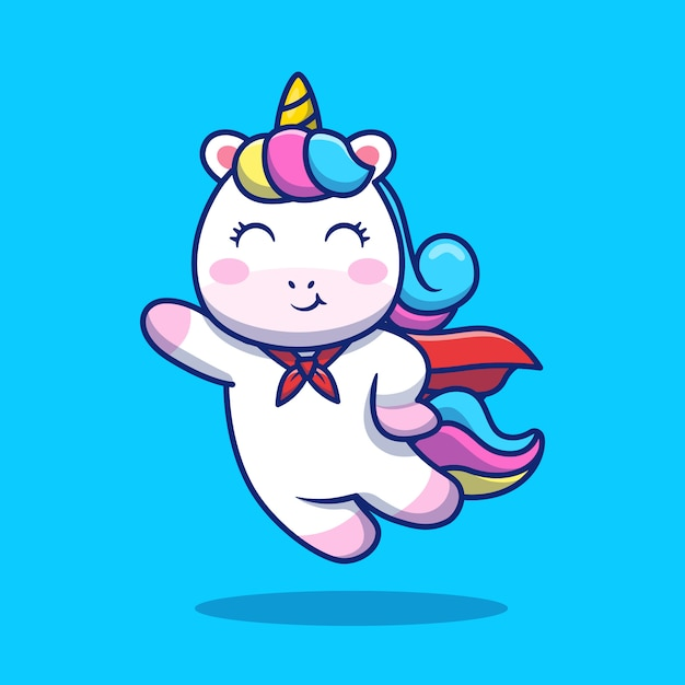 Cute super hero unicorn flying cartoon icon illustration. animal icon concept isolated premium . flat cartoon style Premium Vector