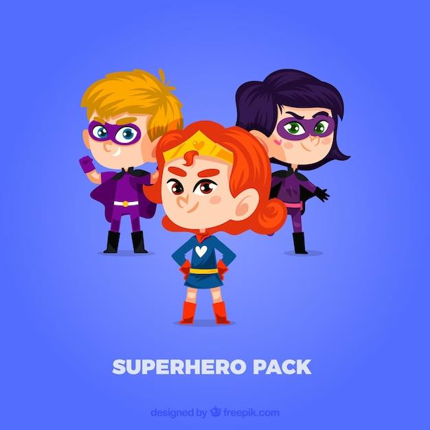Cute superhero pack Free Vector