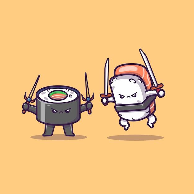 かわいい寿司とおにぎり格闘漫画アイコンイラスト。フードアイコンコンセプト分離プレミアム。フラット漫画スタイル Premiumベクター