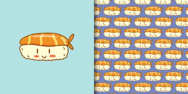 Симпатичные суши мультфильм рисованной стиль Premium векторы