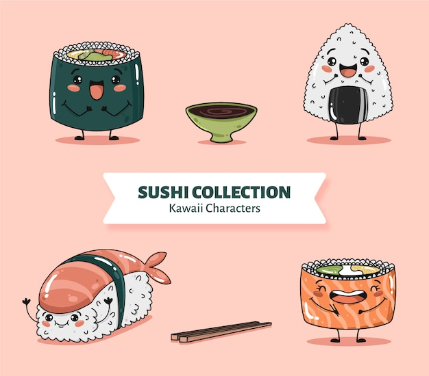 Cute sushi characters collection vector Free Vector