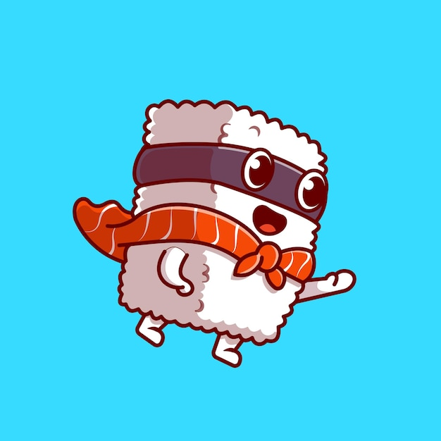 Cute sushi salmon super hero cartoon icon illustration. Free Vector
