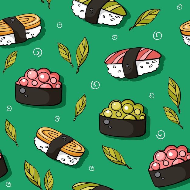 Cute sushi with salmon Premium Vector
