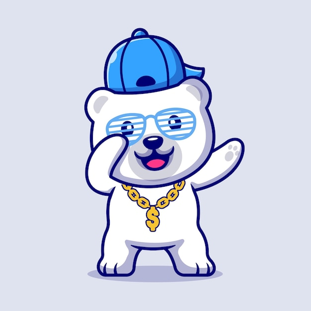 Cute swag polar bear with hat and gold chain necklace cartoon illustration. flat cartoon style Free Vector