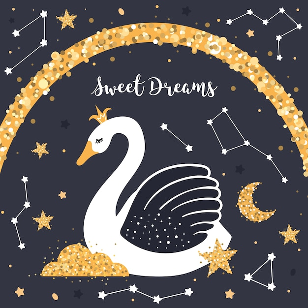 Cute swan in the night sky Premium Vector