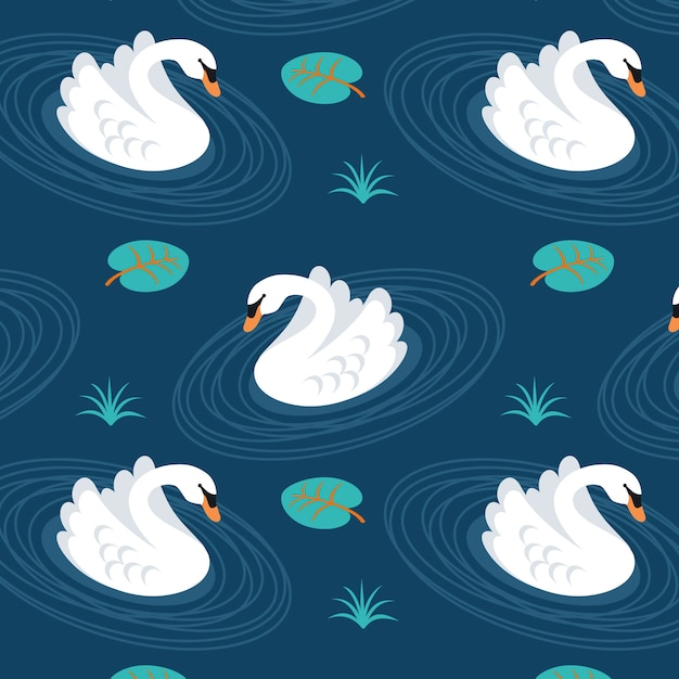 Cute swan pattern Free Vector