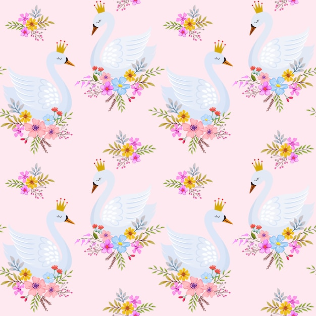 Cute swan princess with flowers seamless pattern. Premium Vector