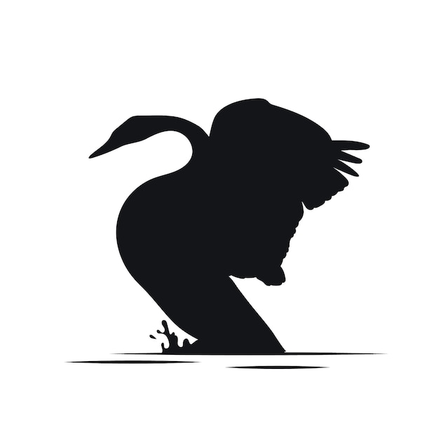 Cute swan sillhouette with wings up Free Vector