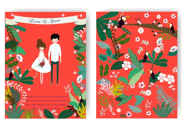 Cute sweet couple and pink floral flower in red wedding card Premium Vector