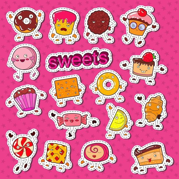 Симпатичные сладкие конфеты персонажи каракули с печеньем Premium векторы