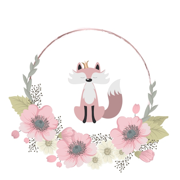 Cute and sweet fox collects flowers Premium Vector