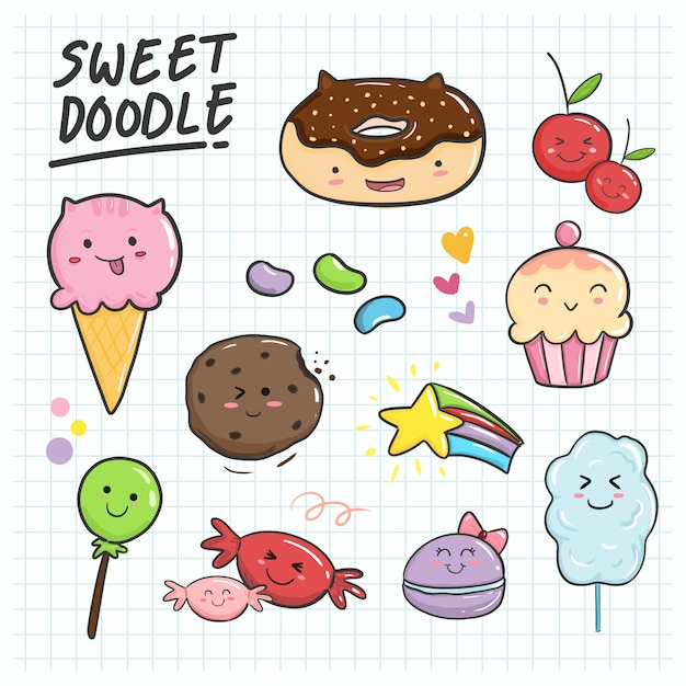 Cute and sweet hand drawn kawaii collection set for kids ornament. Premium Vector