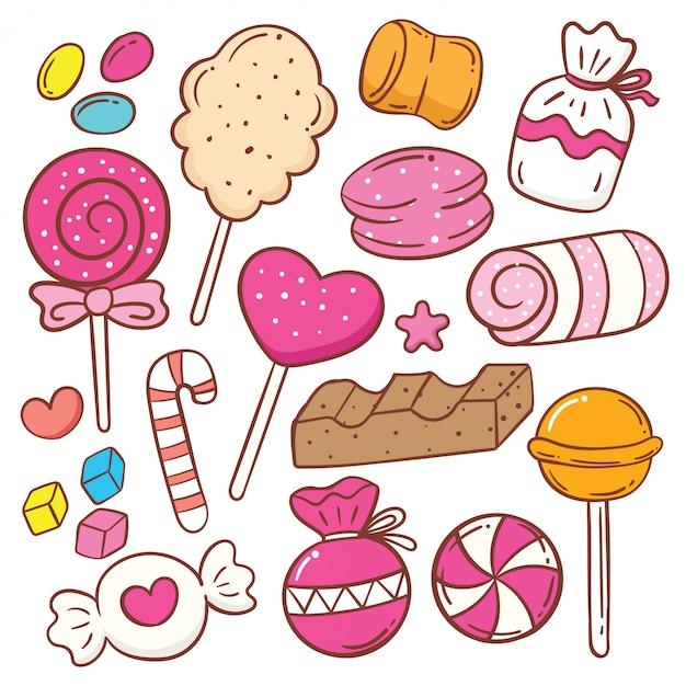 Cute sweets cartoon doodle set Premium Vector