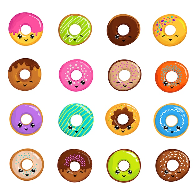 Cute sweets donuts in japanese kawaii style vector set Premium Vector