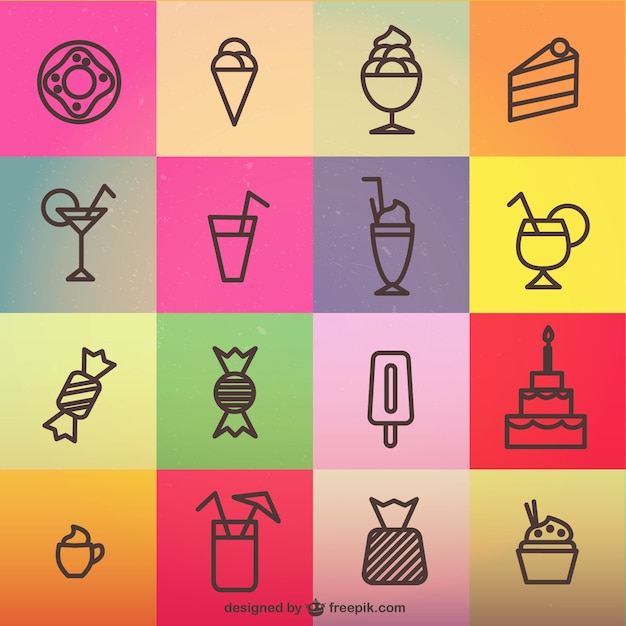 Cute sweets icons Premium Vector