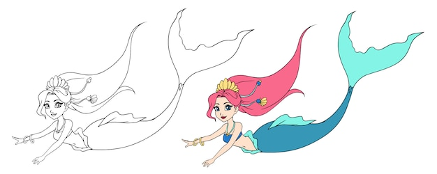 Cute swimming mermaid. hand drawn contour. can be used for children mobile games, coloring books, stickers, cards, tattoo, t-shirt design. Premium Vector