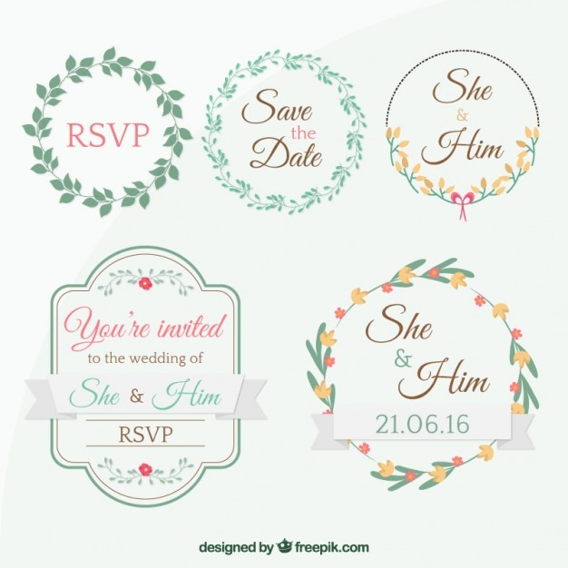 Extremamente Cute tags for wedding invitation Vector | Free Download KN89