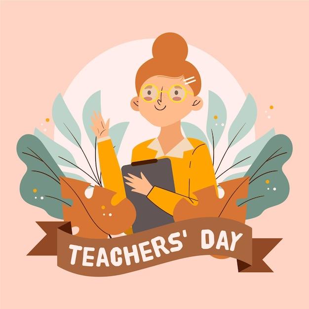 Симпатичный учитель, иллюстрированный с буфером обмена Бесплатные векторы
