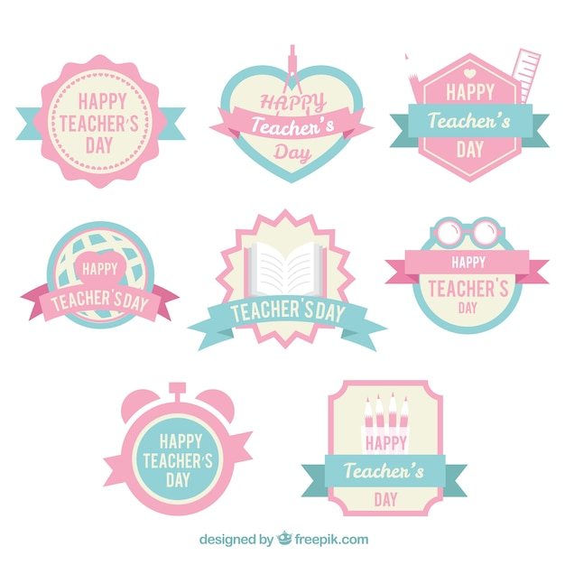 cute teachers day badges in pastel colors free vector