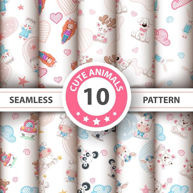 Cute teddy animals seamless pattern Premium Vector