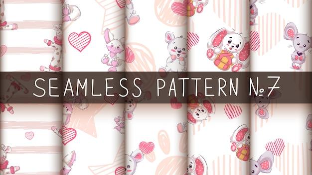 Cute teddy animals - seamless pattern Premium Vector