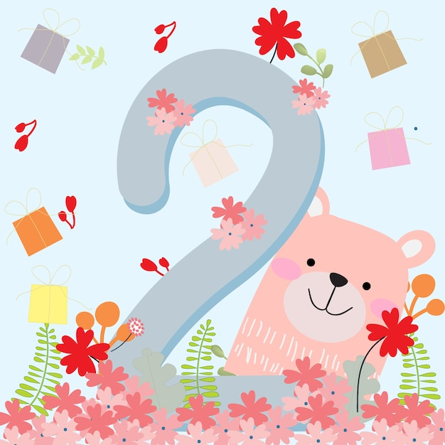 Cute Teddy Bear 2 Years Birthday Card Premium Vector