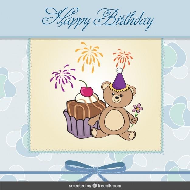 Cute teddy bear birthday card Vector – Birthday Card Bear