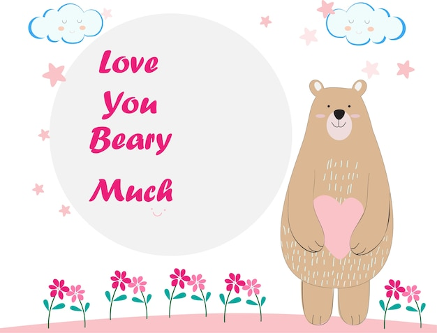 Cute Teddy Bear Cartoon Birthday Card Vector